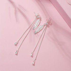 *NEW 925 Sterling Silver Leaf Tassel Drop Earrings
